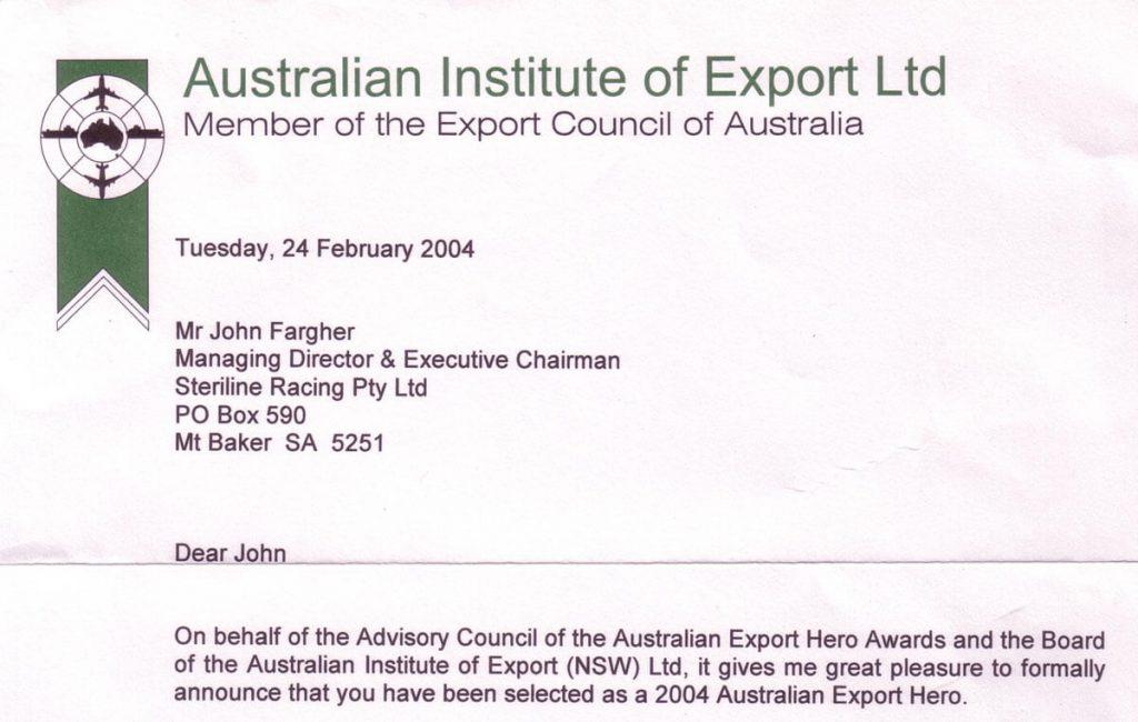Export Hero Award for John Fargher