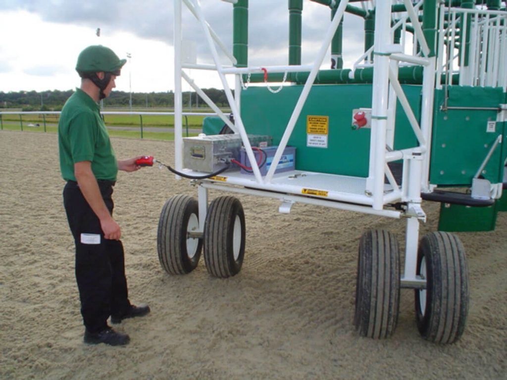 Developed battery operated steering for starting gates as an option in place of hydraulic steering (operated by tractor lines)