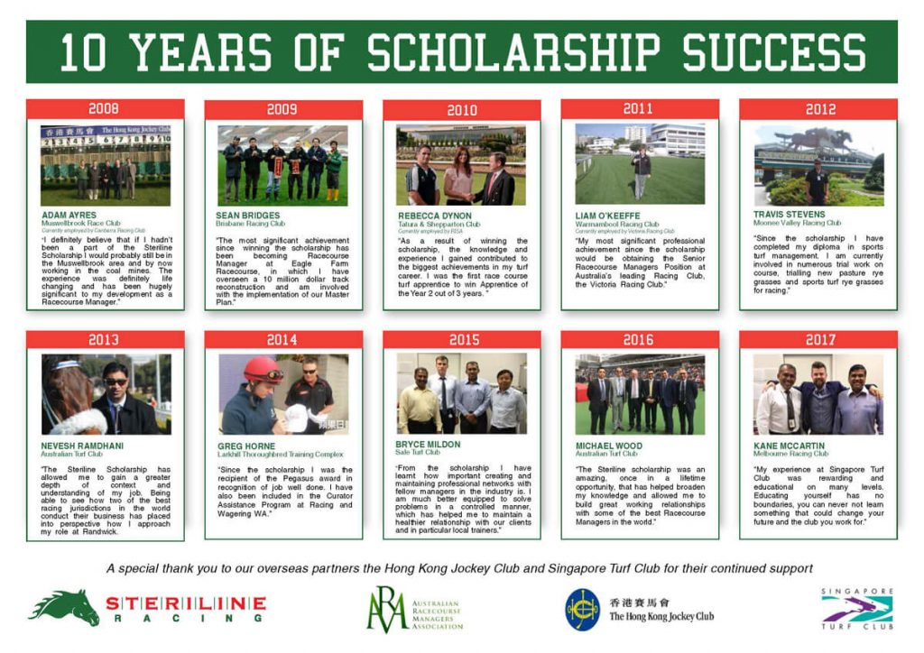 Steriline implemented a scholarship program for Australian and New Zealand Racecourse Managers, to support and encourage industry development