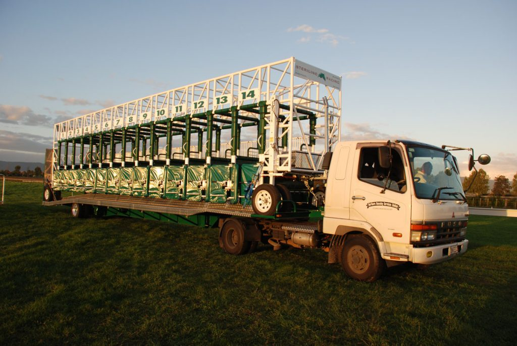 Steriline manufactured and designed a transportable starting gate/trailer system which was compliant and certified for road transportation. A 14 stall model was debuted in Matamata, New Zealand in May 2015