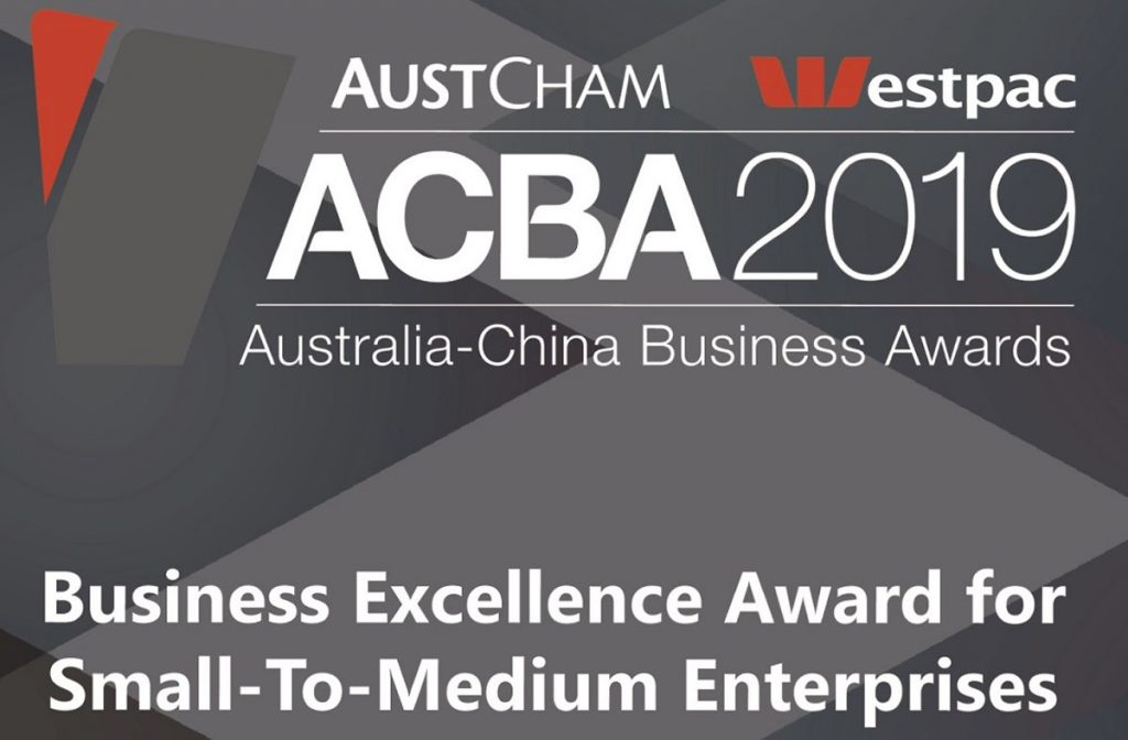 Australia China Business Awards Winner for Business Excellence
